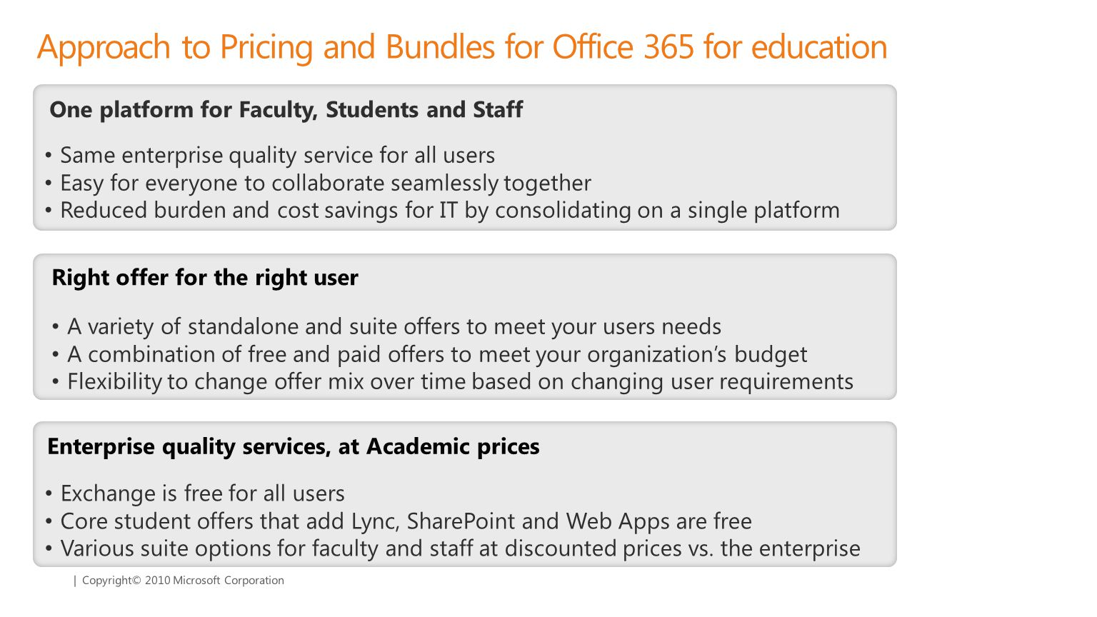 | Copyright© 2010 Microsoft Corporation Enterprise quality services, at Academic prices Right offer for the right user One platform for Faculty, Students and Staff Approach to Pricing and Bundles for Office 365 for education Exchange is free for all users Core student offers that add Lync, SharePoint and Web Apps are free Various suite options for faculty and staff at discounted prices vs.