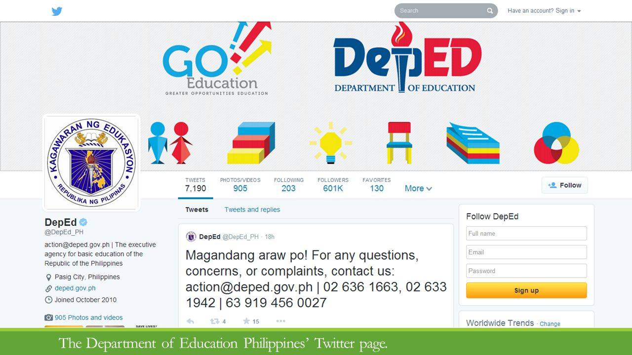 The Department of Education Philippines Twitter page.