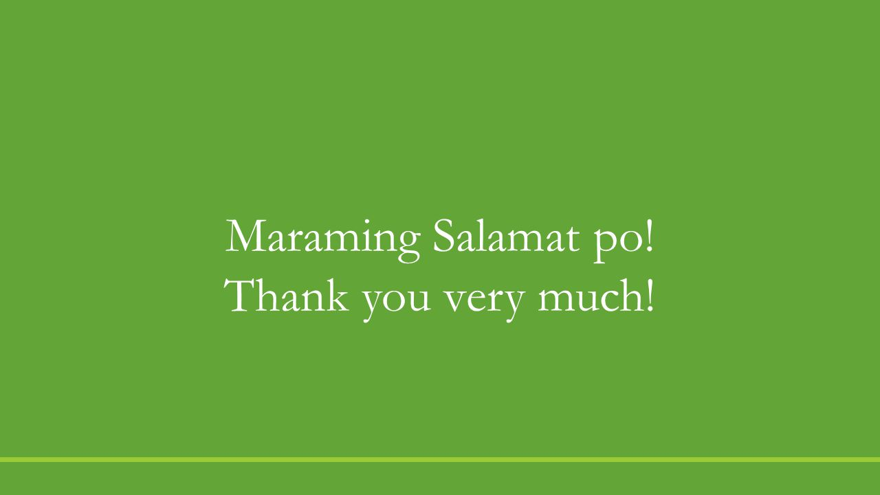 Maraming Salamat po! Thank you very much!