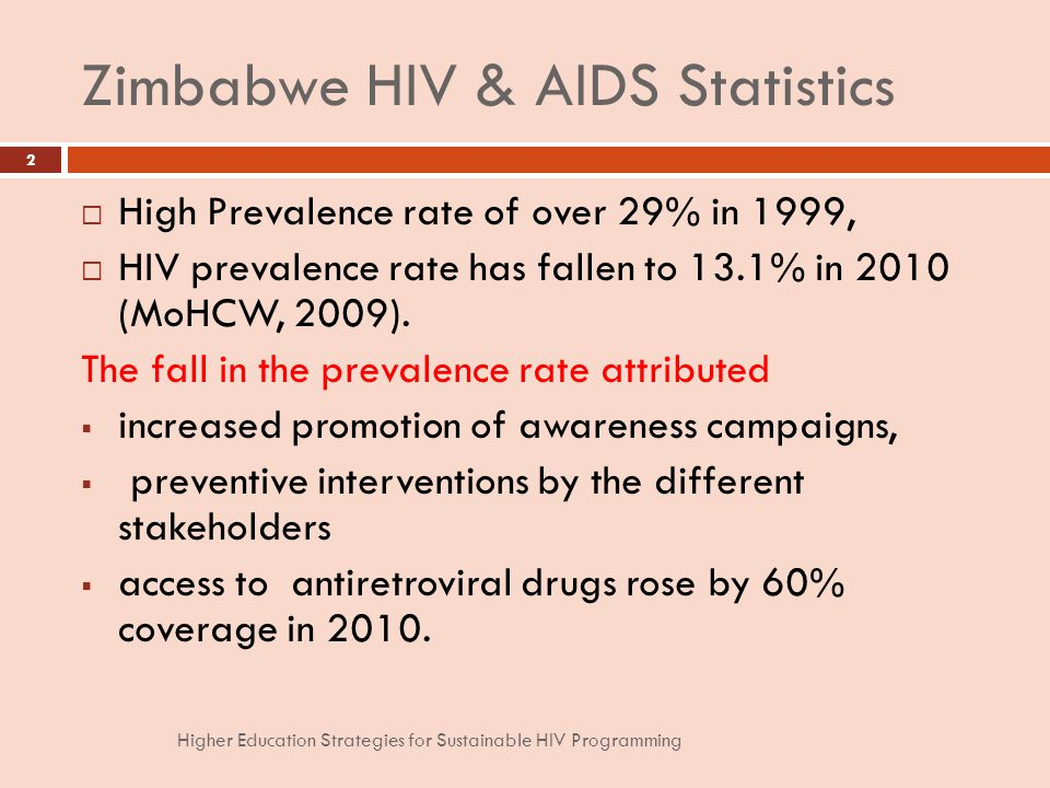 Zimbabwe HIV & AIDS Statistics High Prevalence rate of over 29% in 1999, HIV prevalence rate has fallen to 13.1% in 2010 (MoHCW, 2009).