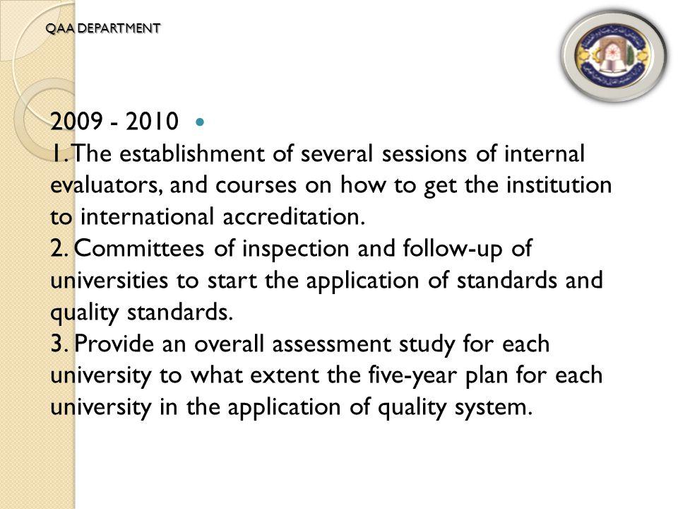 2010 - 2011 Agreements with international organizations for accreditation (QAA.