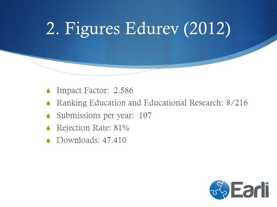 2. Figures Edurev (2012) Impact Factor: 2.586 Ranking Education and Educational Research: 8/216 Submissions per year: 107 Rejection Rate: 81% Download