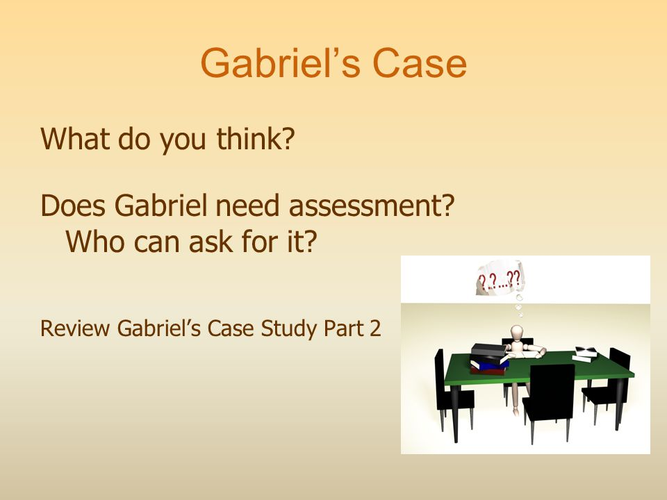 Gabriels Case What do you think. Does Gabriel need assessment.