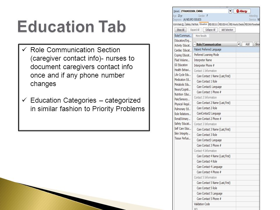 Role Communication Section (caregiver contact info)- nurses to document caregivers contact info once and if any phone number changes Education Categories – categorized in similar fashion to Priority Problems