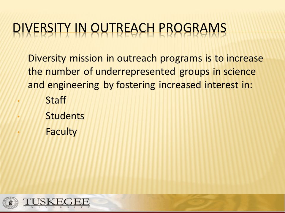 Diversity mission in outreach programs is to increase the number of underrepresented groups in science and engineering by fostering increased interest