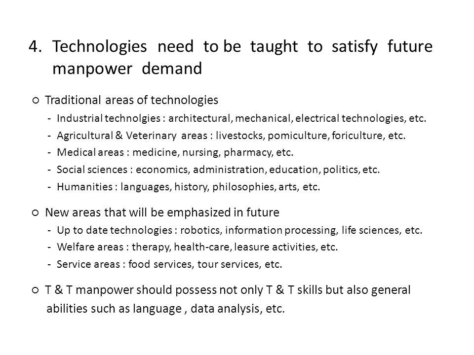4.Technologies need to be taught to satisfy future manpower demand Traditional areas of technologies - Industrial technolgies : architectural, mechanical, electrical technologies, etc.