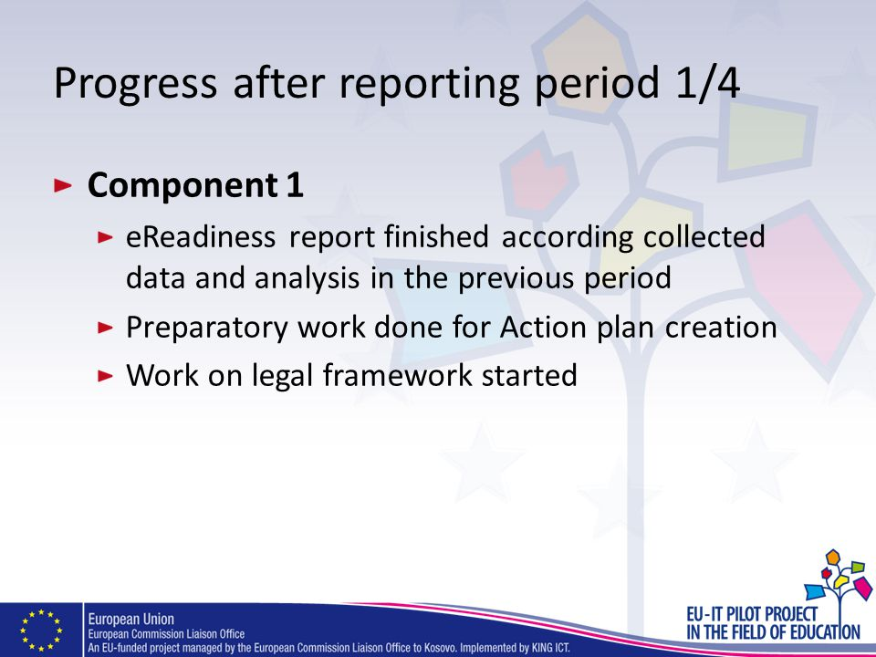 Progress after reporting period 1/4 Component 1 eReadiness report finished according collected data and analysis in the previous period Preparatory work done for Action plan creation Work on legal framework started