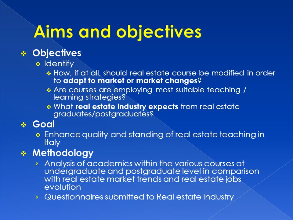 Different approaches in literature on real estate education and how to improve the relationship between real estate education and the industry : The first focus on improving the education process and the fundamental approach to working with the students (see Shulte 2005, Lizieri and Baum, 2002), Gibler, 2001 The second have stressed the importance of connectivity between the academics and business community (Butler, Guntermann and Wolverton, 1998, Anderson, Loviscek, Webb, 2000., Manning and Roulac, 2001, Galuppo Worzala, 2004) Others have analysed the extend to which faculties have developed programs that facilitate integration between academia and business industry (Chambers, Holm, Worzala, 2006) Others studied the essential elements for successful Real estate program (Worzala, Tu, Lukens, Weinstein, 2008, Galuppo Worzala, 2004)