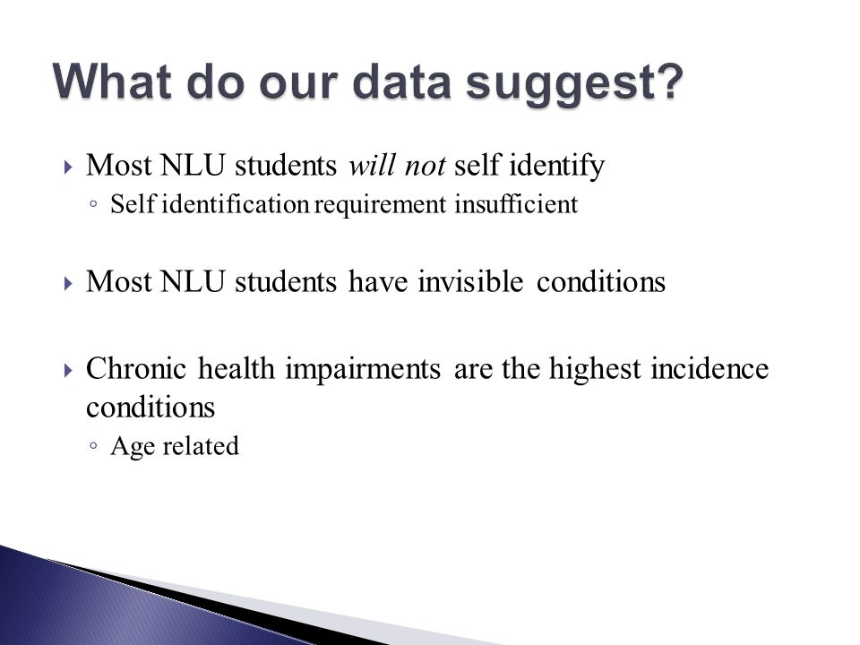Most NLU students will not self identify Self identification requirement insufficient Most NLU students have invisible conditions Chronic health impairments are the highest incidence conditions Age related