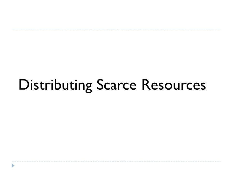 Distributing Scarce Resources