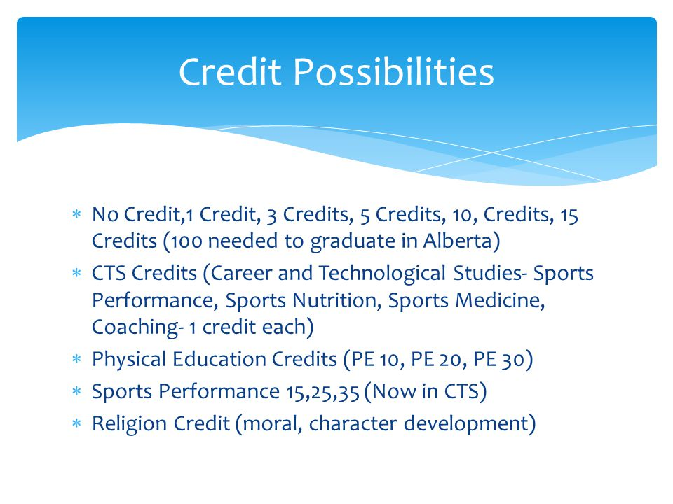 No Credit,1 Credit, 3 Credits, 5 Credits, 10, Credits, 15 Credits (100 needed to graduate in Alberta) CTS Credits (Career and Technological Studies- Sports Performance, Sports Nutrition, Sports Medicine, Coaching- 1 credit each) Physical Education Credits (PE 10, PE 20, PE 30) Sports Performance 15,25,35 (Now in CTS) Religion Credit (moral, character development) Credit Possibilities