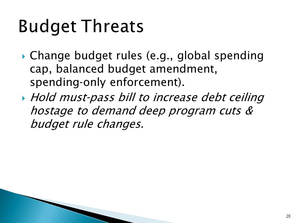 Change budget rules (e.g., global spending cap, balanced budget amendment, spendingonly enforcement).