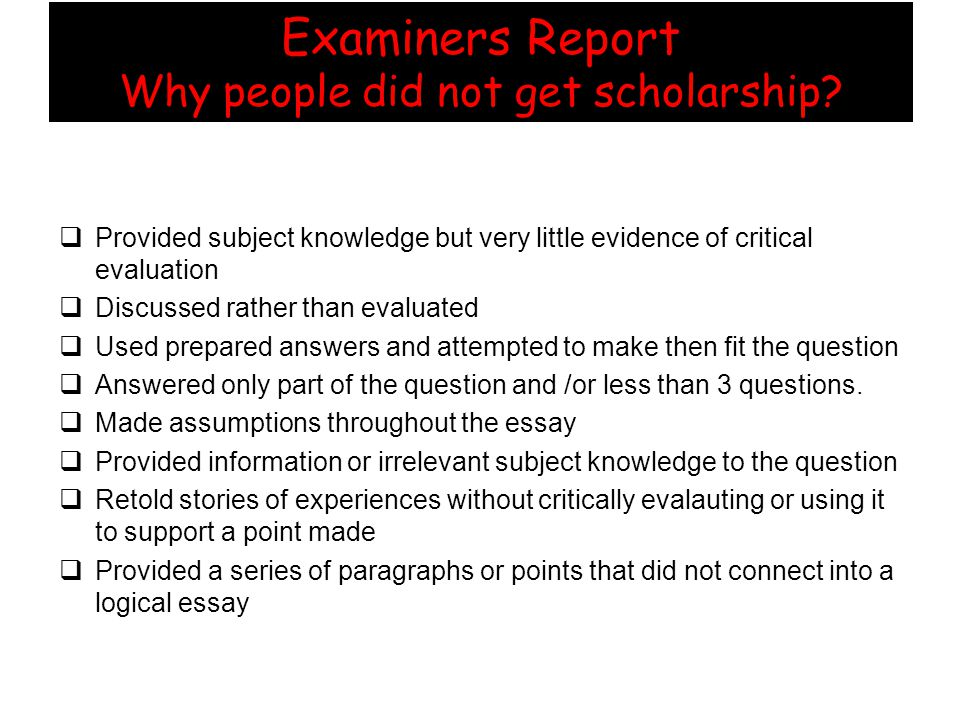 Examiners Report Who got Schol but not Outstanding.