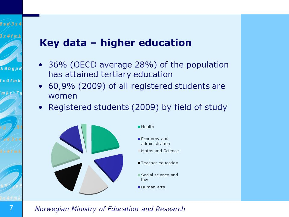 7 Norwegian Ministry of Education and Research Key data – higher education 36% (OECD average 28%) of the population has attained tertiary education 60,9% (2009) of all registered students are women Registered students (2009) by field of study
