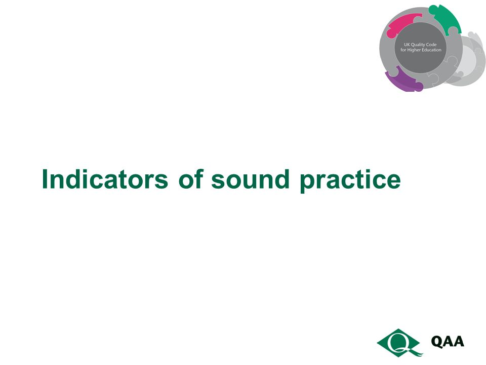 Indicators of sound practice