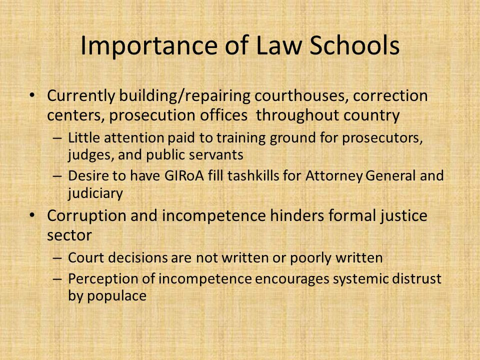 Importance of Law Schools Currently building/repairing courthouses, correction centers, prosecution offices throughout country – Little attention paid to training ground for prosecutors, judges, and public servants – Desire to have GIRoA fill tashkills for Attorney General and judiciary Corruption and incompetence hinders formal justice sector – Court decisions are not written or poorly written – Perception of incompetence encourages systemic distrust by populace