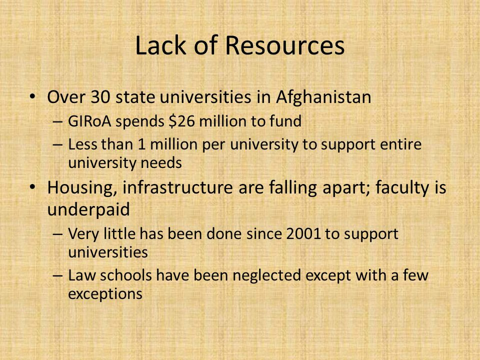 Lack of Resources Over 30 state universities in Afghanistan – GIRoA spends $26 million to fund – Less than 1 million per university to support entire