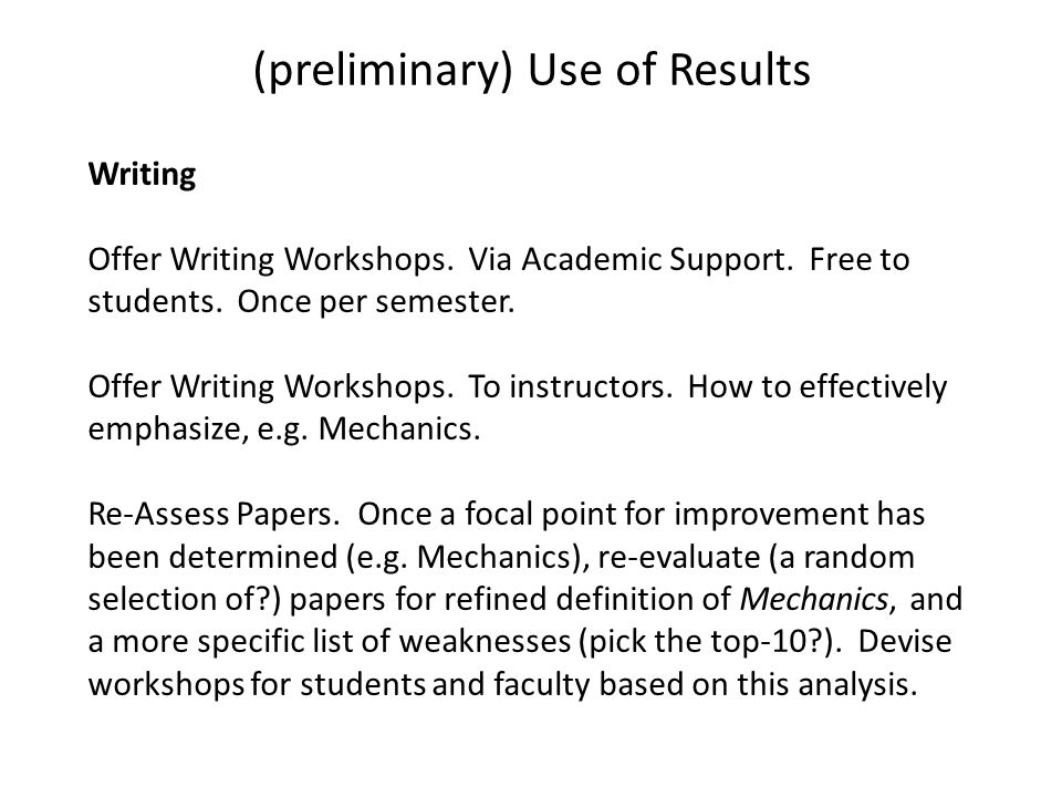 Writing Offer Writing Workshops. Via Academic Support.