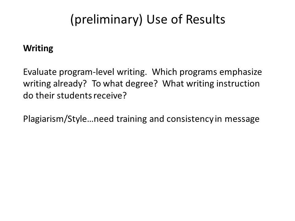 Writing Evaluate program-level writing. Which programs emphasize writing already.