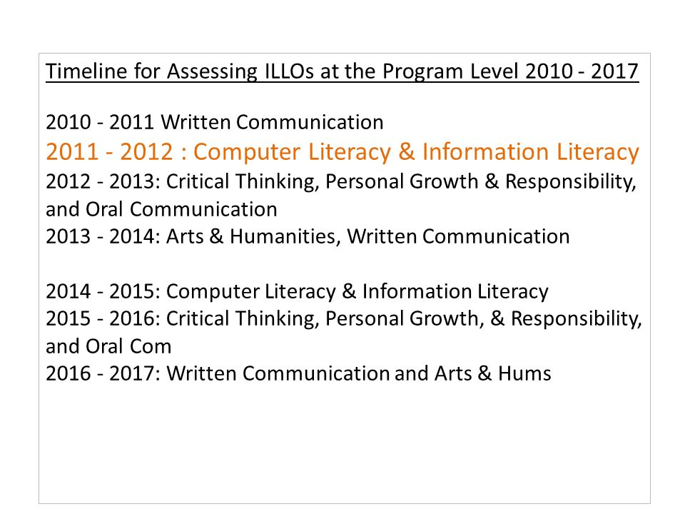 Timeline for Assessing ILLOs at the Program Level 2010 - 2017 2010 - 2011 Written Communication 2011 - 2012 : Computer Literacy & Information Literacy 2012 - 2013: Critical Thinking, Personal Growth & Responsibility, and Oral Communication 2013 - 2014: Arts & Humanities, Written Communication 2014 - 2015: Computer Literacy & Information Literacy 2015 - 2016: Critical Thinking, Personal Growth, & Responsibility, and Oral Com 2016 - 2017: Written Communication and Arts & Hums