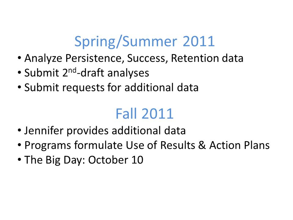 Spring/Summer 2011 Analyze Persistence, Success, Retention data Submit 2 nd -draft analyses Submit requests for additional data Fall 2011 Jennifer provides additional data Programs formulate Use of Results & Action Plans The Big Day: October 10