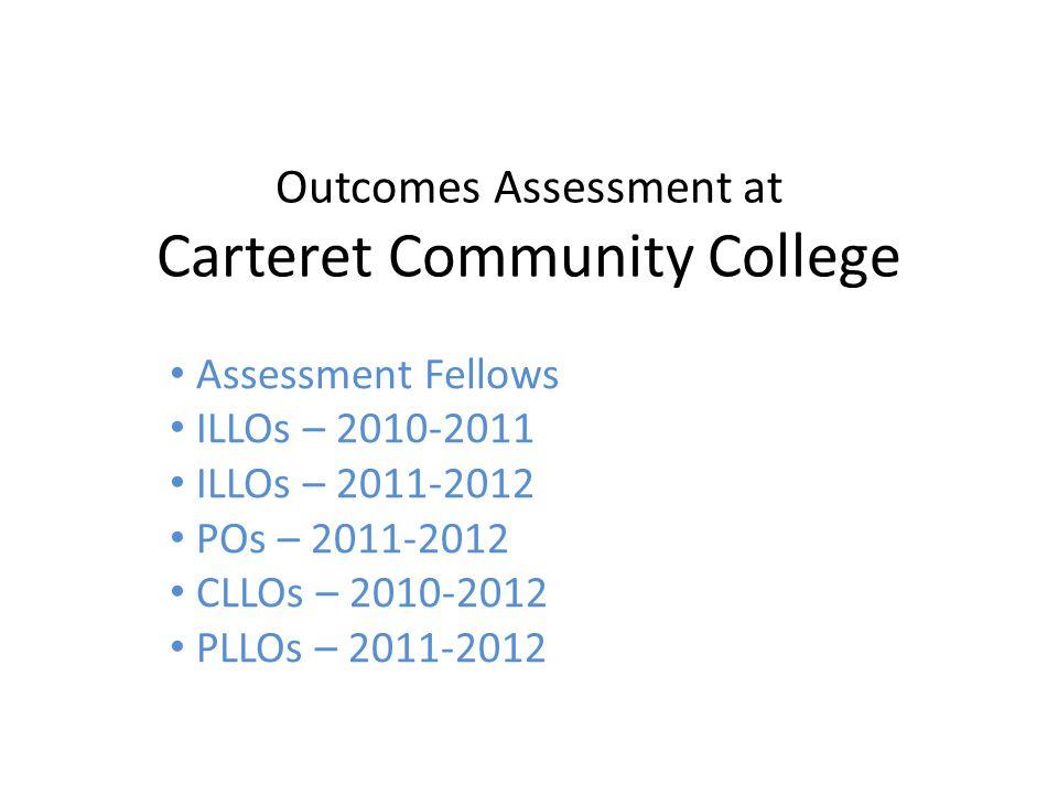 Outcomes Assessment at Carteret Community College Assessment Fellows Sherry Faithful Phillip Morris Shana Olmstead