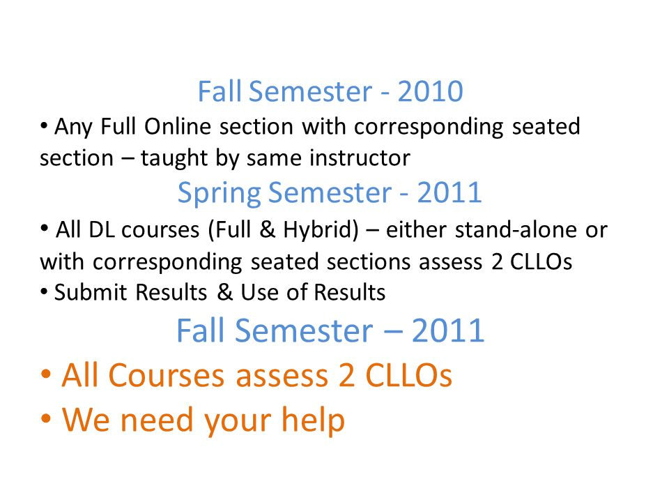 Fall Semester - 2010 Any Full Online section with corresponding seated section – taught by same instructor Spring Semester - 2011 All DL courses (Full & Hybrid) – either stand-alone or with corresponding seated sections assess 2 CLLOs Submit Results & Use of Results Fall Semester – 2011 All Courses assess 2 CLLOs We need your help