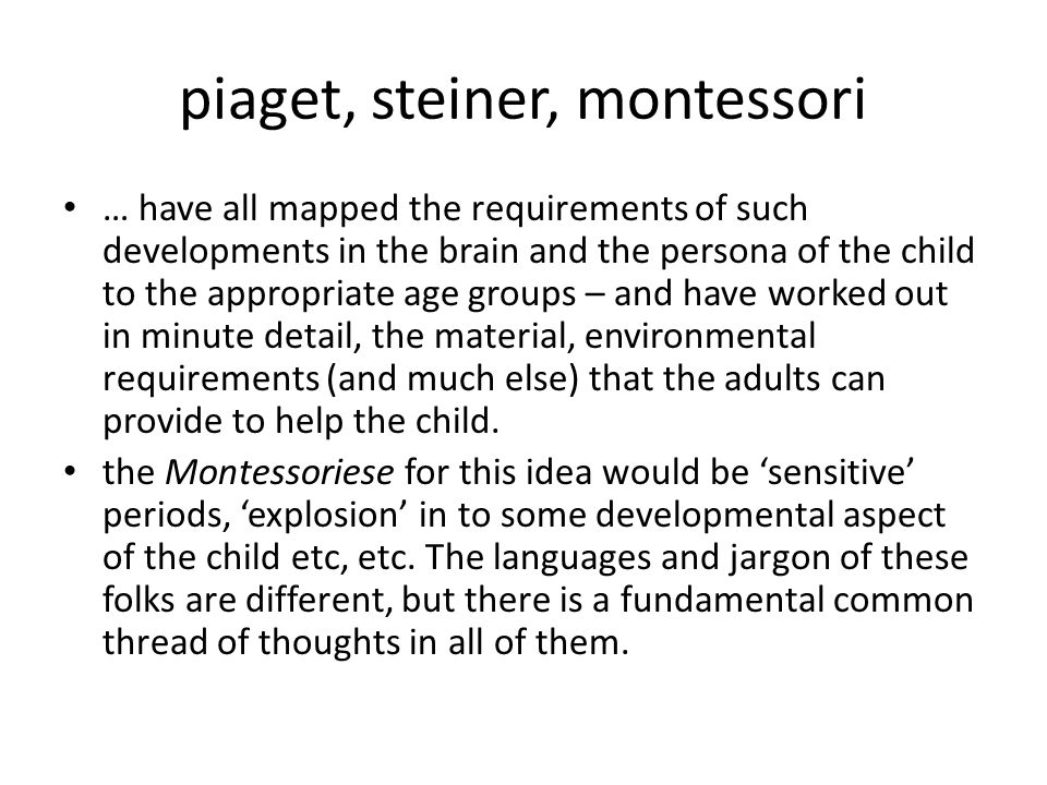 piaget, steiner, montessori … have all mapped the requirements of such developments in the brain and the persona of the child to the appropriate age groups – and have worked out in minute detail, the material, environmental requirements (and much else) that the adults can provide to help the child.
