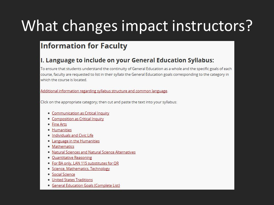What changes impact instructors?