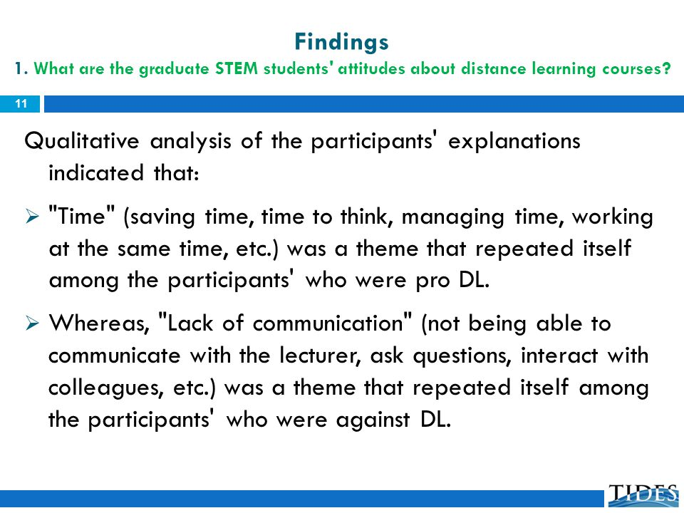 Qualitative analysis of the participants' explanations indicated that: