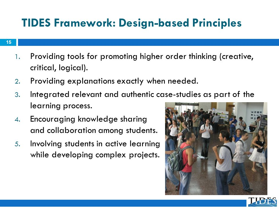 TIDES Framework: Design-based Principles 1. Providing tools for promoting higher order thinking (creative, critical, logical). 2. Providing explanatio