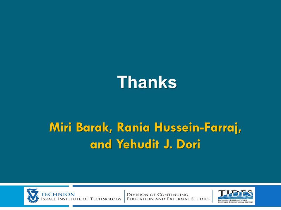 Thanks Thanks Miri Barak, Rania Hussein-Farraj, and Yehudit J. Dori