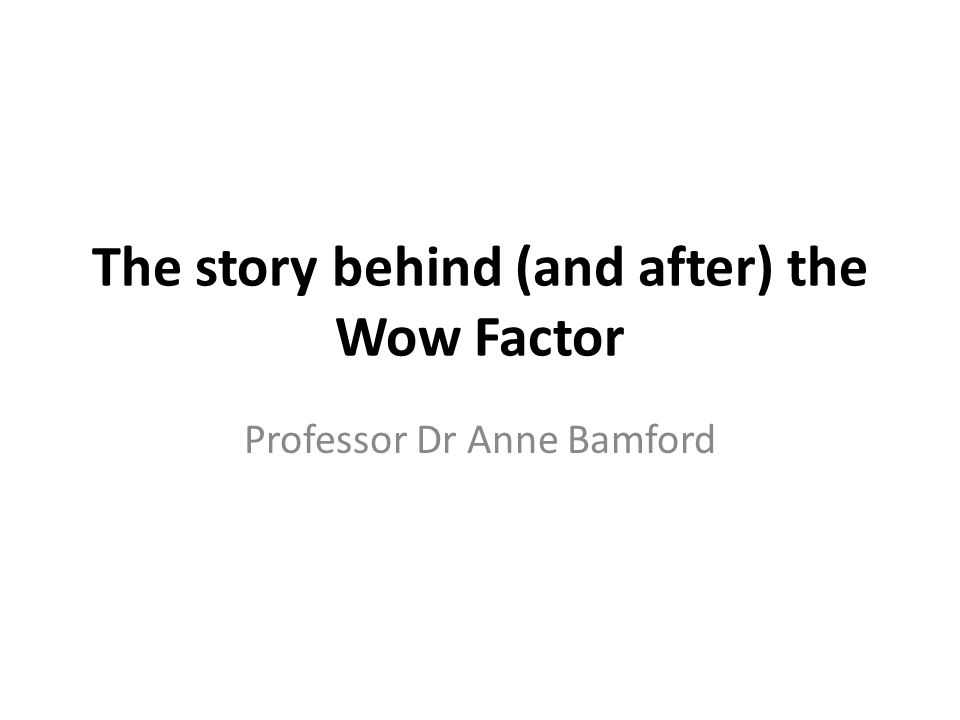 The story behind (and after) the Wow Factor Professor Dr Anne Bamford