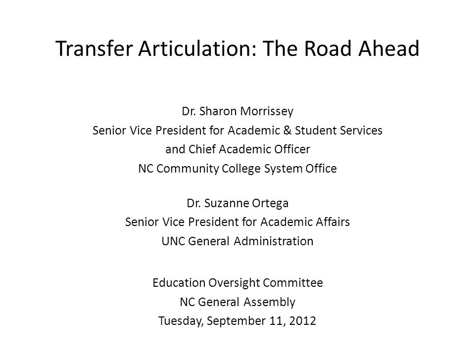 Transfer Articulation: The Road Ahead Dr.