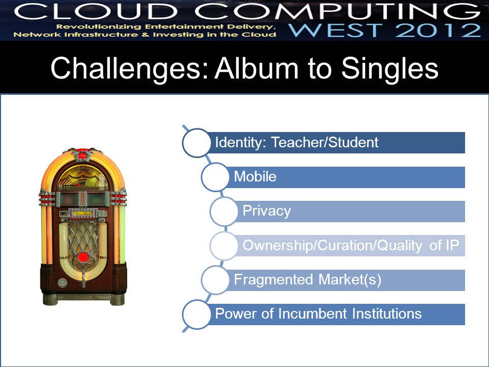 Challenges: Album to Singles Evidence Identity Mobile Privacy Control Ownership/Curation/Quality Power of institutions Identity: Teacher/Student Mobile Privacy Ownership/Curation/Quality of IP Fragmented Market(s) Power of Incumbent Institutions