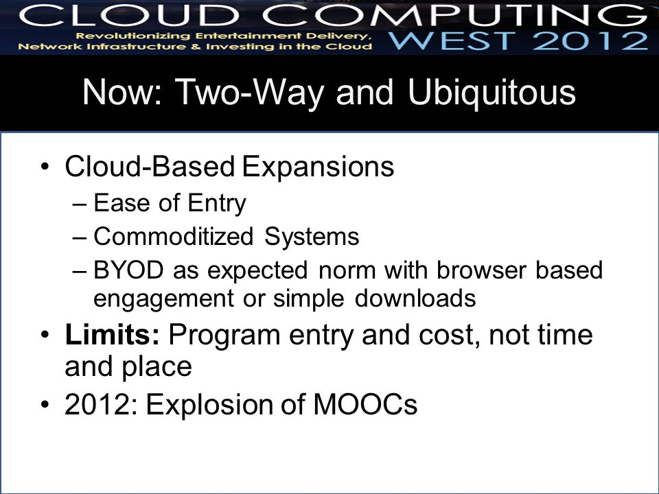 Now: Two-Way and Ubiquitous Cloud-Based Expansions –Ease of Entry –Commoditized Systems –BYOD as expected norm with browser based engagement or simple downloads Limits: Program entry and cost, not time and place 2012: Explosion of MOOCs