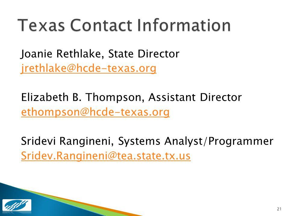 Joanie Rethlake, State Director jrethlake@hcde-texas.org Elizabeth B. Thompson, Assistant Director ethompson@hcde-texas.org Sridevi Rangineni, Systems