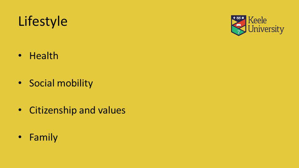 Lifestyle Health Social mobility Citizenship and values Family
