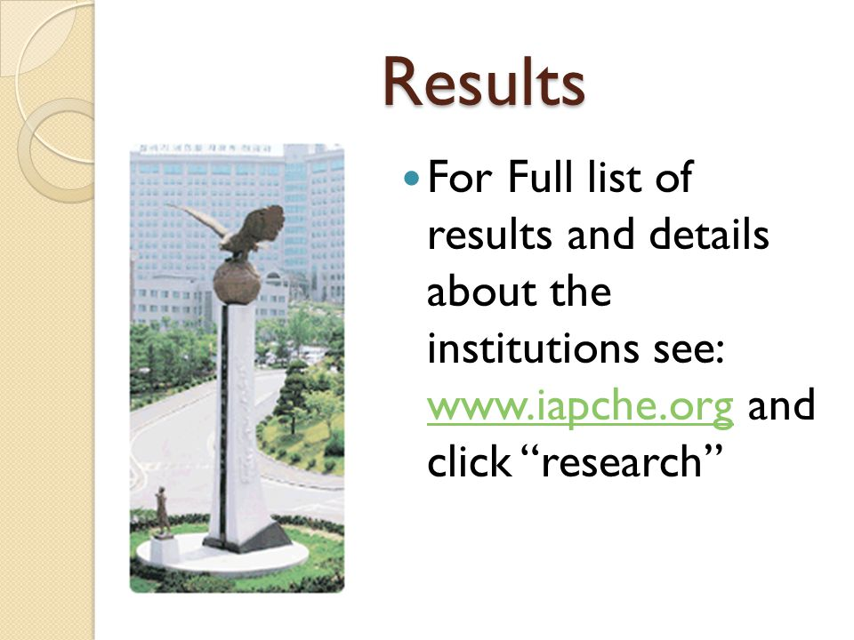 Results For Full list of results and details about the institutions see: www.iapche.org and click research www.iapche.org