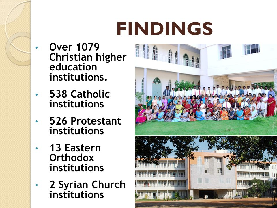 FINDINGS Over 1079 Christian higher education institutions. 538 Catholic institutions 526 Protestant institutions 13 Eastern Orthodox institutions 2 S