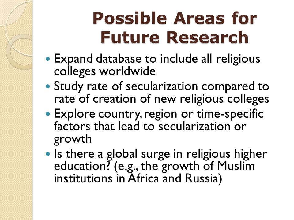 Possible Areas for Future Research Expand database to include all religious colleges worldwide Study rate of secularization compared to rate of creati