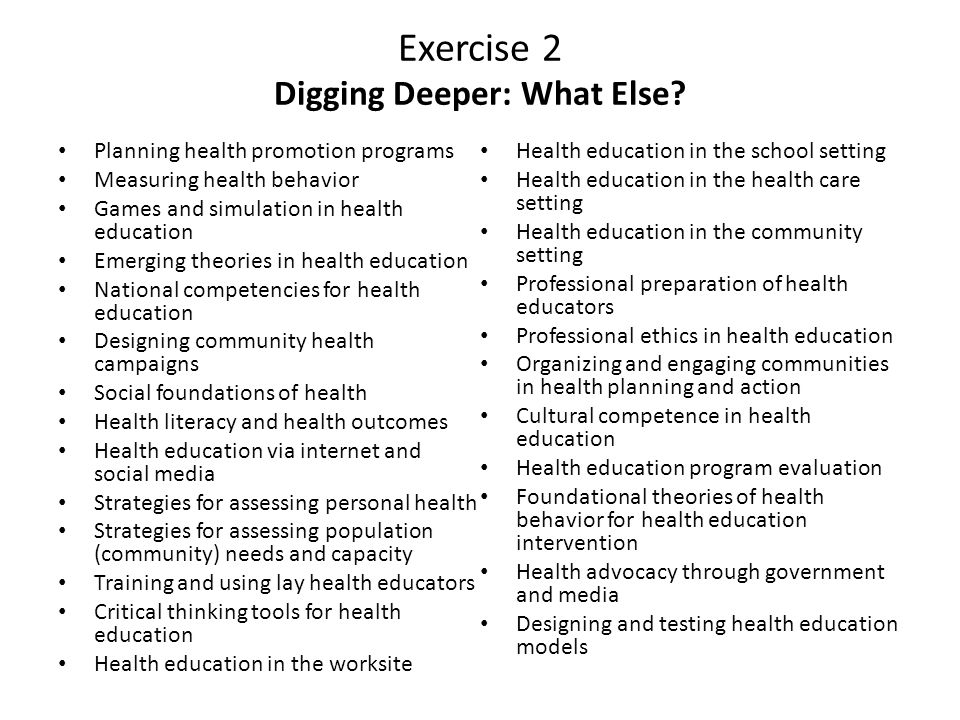 Exercise 2 Digging Deeper: What Else.
