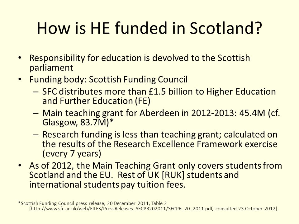 How is HE funded in Scotland.