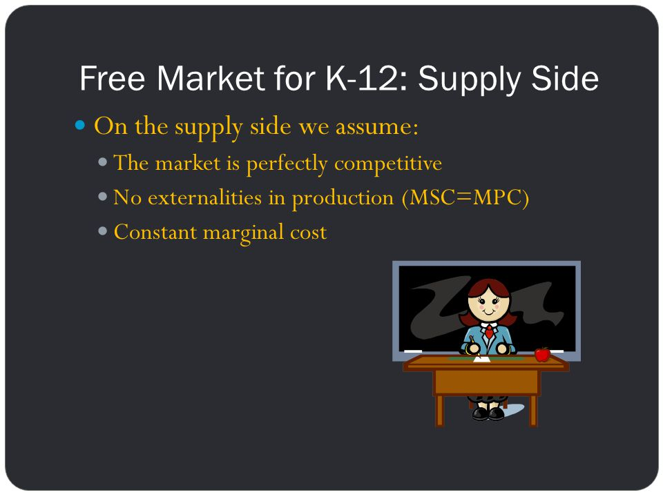 Free Market for K-12: Supply Side On the supply side we assume: The market is perfectly competitive No externalities in production (MSC=MPC) Constant