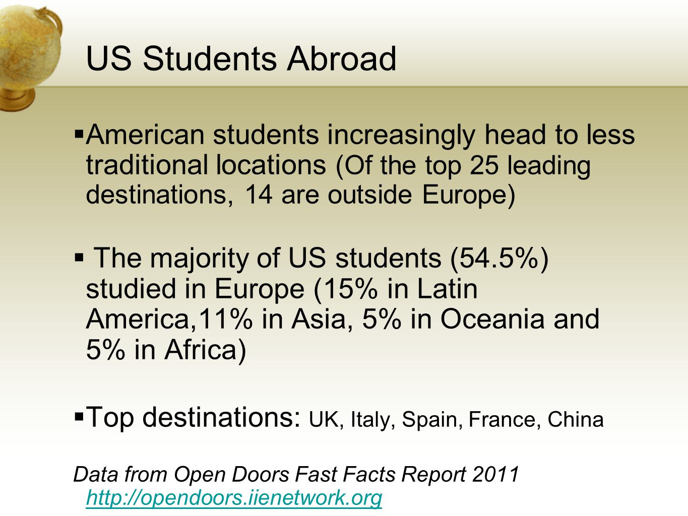 US Students Abroad American students increasingly head to less traditional locations (Of the top 25 leading destinations, 14 are outside Europe) The majority of US students (54.5%) studied in Europe (15% in Latin America,11% in Asia, 5% in Oceania and 5% in Africa) Top destinations: UK, Italy, Spain, France, China Data from Open Doors Fast Facts Report 2011 http://opendoors.iienetwork.org http://opendoors.iienetwork.org