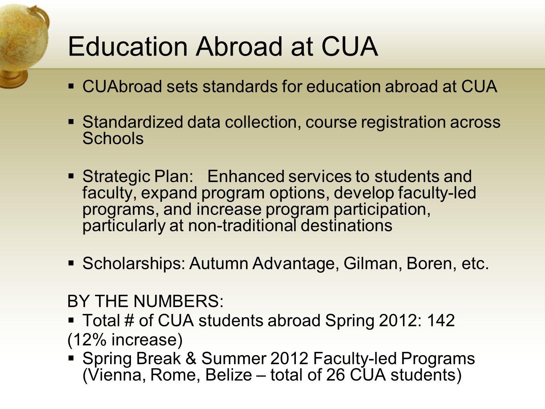 Education Abroad at CUA CUAbroad sets standards for education abroad at CUA Standardized data collection, course registration across Schools Strategic