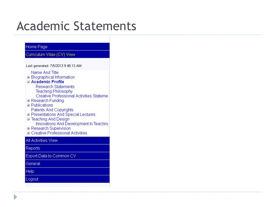 Academic Statements