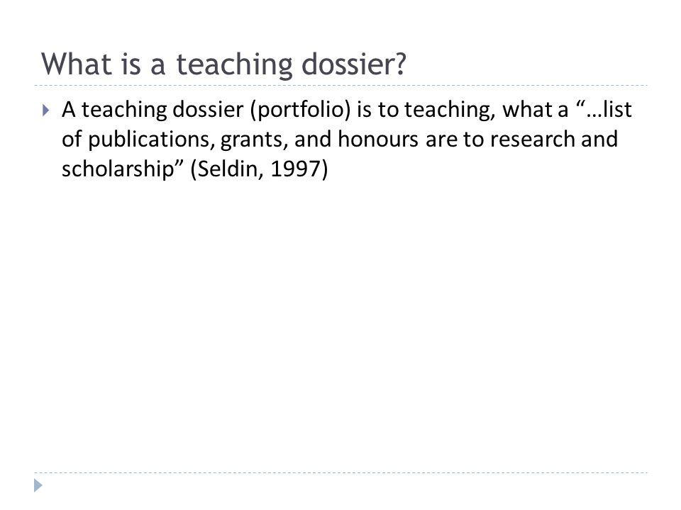 What is a teaching dossier.