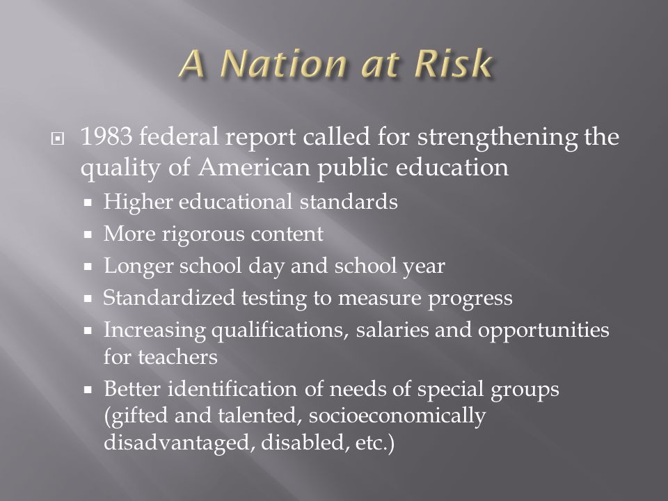 Traditionally, K-12 education was entirely a state and local matter with no involvement from the federal government Today, only about 7% of K-12 funding is federal, but a disproportionate share of the regulations that public school systems deal with come from the federal government.
