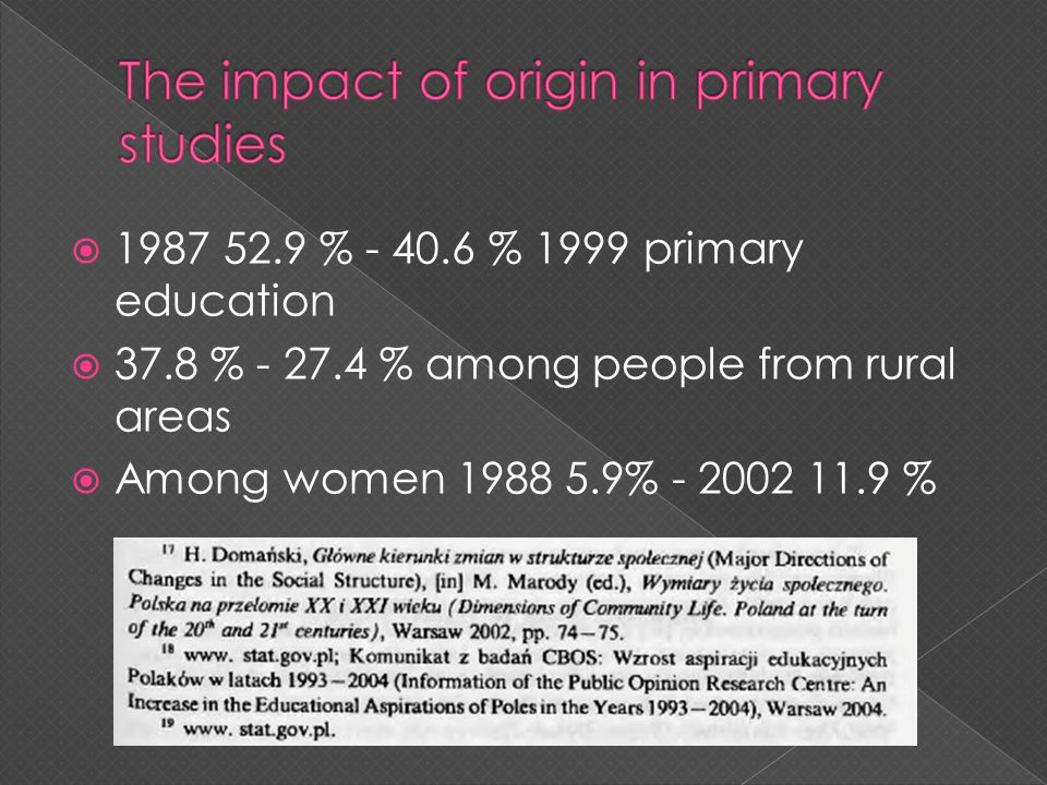 1987 52.9 % - 40.6 % 1999 primary education 37.8 % - 27.4 % among people from rural areas Among women 1988 5.9% - 2002 11.9 %